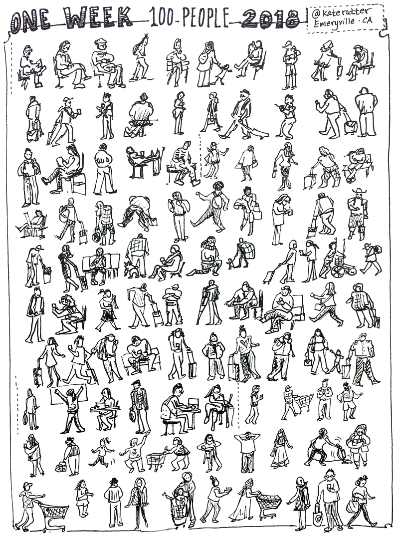 Completed page of 100 teenytiny people.