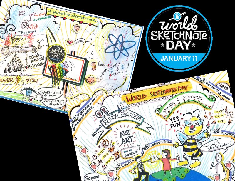 world sketchnote day header